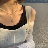 楓葉雙層鍊條項鍊女鎖骨鍊韓國個性金屬圓珠間隔毛衣鍊吊墜X376