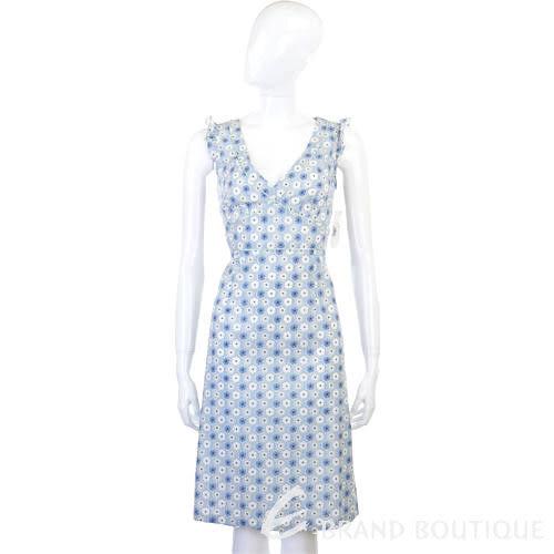 BLANCS MANTEAUX 藍色印花V領無袖洋裝 0520727-23