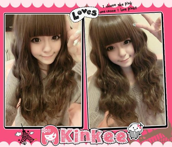 *╮Kinkee 假髮 ╭*綾綾示範  臉紅心跳款Barbie娃娃修臉 蓬鬆 齊瀏海耐熱長髮【K0034】