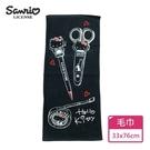 【Sanrio三麗鷗】凱蒂貓Touch文具毛巾-黑 100%棉 33x76cm