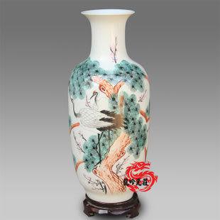 景德鎮陶瓷花瓶手繪松鶴延年