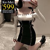 克妹Ke-Mei【ZT57615】小暗黑BF風金屬鍊鎖雙拉鍊開叉軍風吊帶洋裝