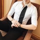 FINDSENSE品牌 男 時尚 潮 薄款 拼接 修身 中袖襯衫 七分袖襯衫