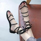 羅馬綁帶涼鞋女時尚百搭夾趾復古港味平底海邊沙灘鞋女 盯目家