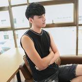 夏季韓版修身坎肩男士背心運動健身透氣青年純棉打底無袖T恤潮流  巴黎街頭