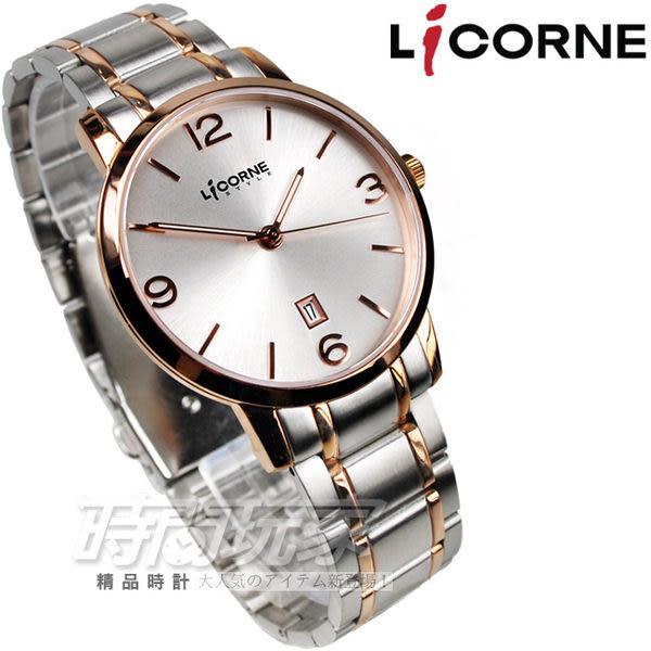 LIT052MTWI-R公司貨LICORNE力抗 玫瑰金配色不銹鋼數字圓錶 男錶