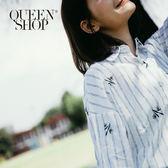 Queen Shop【01023077】刺繡繡花插畫直條襯衫*預購*