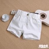 女童牛仔短褲夏季新款韓版中大童兒童白色外穿百搭寬鬆熱褲子 快速出貨