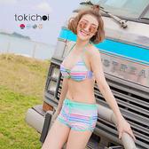 東京著衣-多色俏皮條紋綁帶兩件式泳裝(180294)