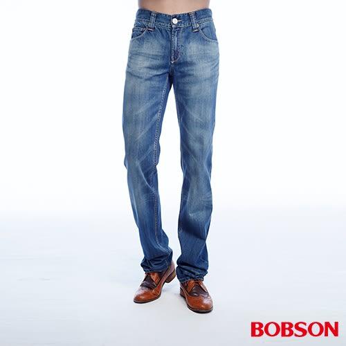 BOBSON  男款貓鬚刷白直筒褲(1785-53)
