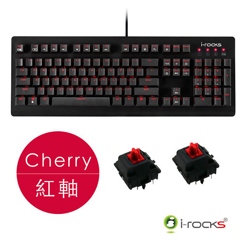 i-Rocks K65MS IRK65MS 單色背光 Cherry 紅軸 機械式鍵盤