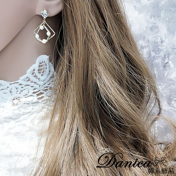 現貨  韓國氣質女神百搭幾何菱形珍珠垂墜925銀針耳環 夾式耳環 S93302 批發價 Danica 韓系飾品