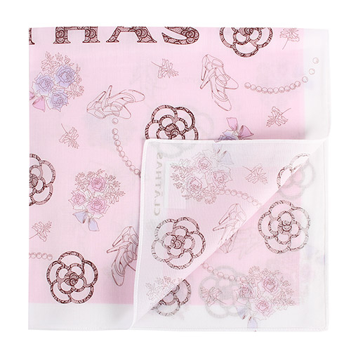 CLATHAS 山茶花花束純綿帕巾(粉紅色)989265-7