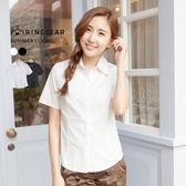 襯衫--專業百搭公主車線修身設計素面短袖襯衫(白.黑S-4L)-H161眼圈熊中大尺碼◎
