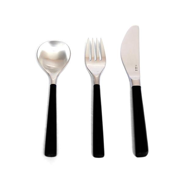日本 Sori Yanagi Black Birch Handle Cutlery Set 柳宗理 樺木黑柄餐具系列 不鏽鋼 個人刀叉匙 三件組禮盒