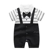 紳士領結假吊帶短袖包屁衣 短袖包屁衣 連身衣 嬰兒裝 包屁衣
