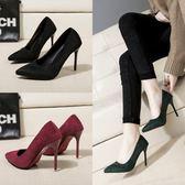 高跟鞋女春季新款細跟尖頭單鞋淺口百搭黑色絨面職業ol工作鞋
