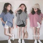 一件免運-短袖襯衫2018夏季新品中大女童休閒條紋短袖襯衫時尚百搭短袖襯衫3色