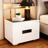 床頭櫃 烤漆床頭櫃簡約現代床邊小櫃子收納櫃歐式床頭櫃臥室簡易儲物櫃【美物居家館】