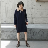 長袖洋裝-撞色娃娃領簡約針織結連身裙2色73xm47[時尚巴黎]