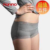 non-no儂儂褲襪 (5入)竹炭蕾絲彈力褲-8814