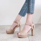 魚口鞋 夏季超高跟鞋10cm粗跟涼鞋 夜場防水臺一字扣職業黑色絨面魚嘴女鞋
