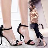 高跟涼鞋 夏季正韓細跟露趾性感時尚一字扣帶貓跟顯瘦百搭高跟涼鞋 鉅惠85折