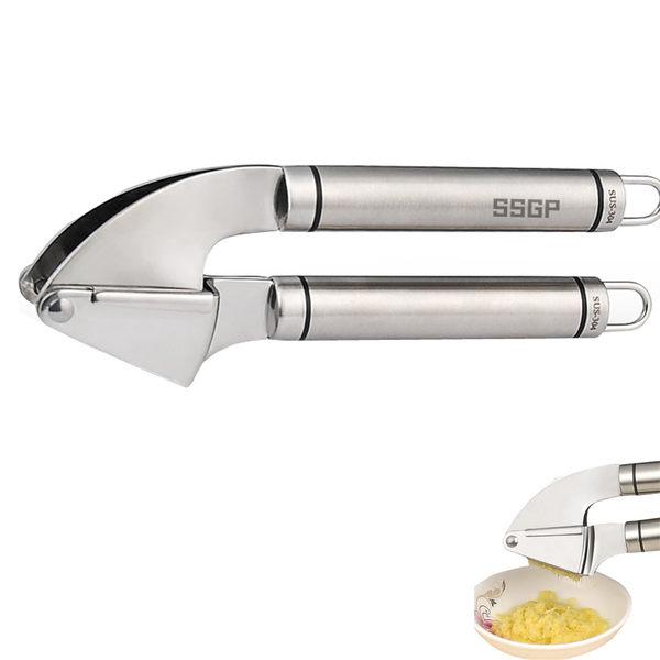 PUSH! 廚房用品加大版手動不銹鋼壓蒜器擠蒜搗蒜器(壓蒜泥,夾堅果)D65