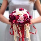 新娘手捧花仿真韓式婚禮花束婚禮影樓道具婚紗拍照手捧花結婚用品  伊莎公主
