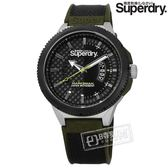 Superdry 極度乾燥 / SYG245BN / 復古時尚 軍事風潮 日本機芯 尼龍矽膠手錶 深灰x黑銀框x墨綠 45mm