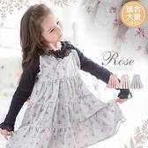 大童可~歐風玫瑰花語麻紗細肩帶連身裙洋裝(260002)★水娃娃時尚童裝★