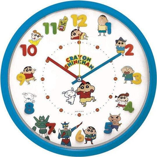 小禮堂 蠟筆小新 連續秒針圓形壁掛鐘 壁鐘 時鐘 (藍白 立體數字) 4548626-06991