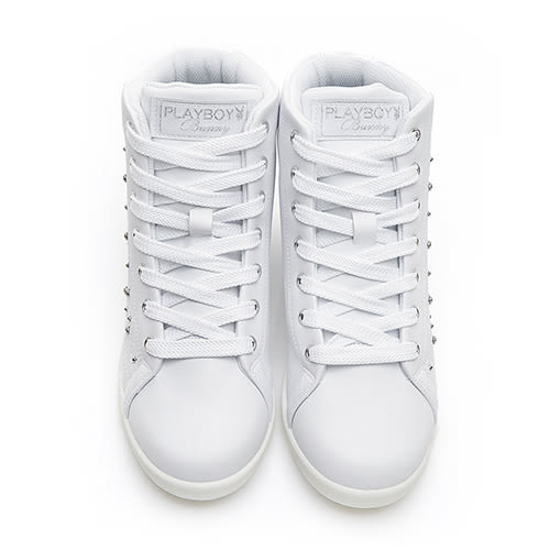 PLAYBOY 晶鑽高筒內增高休閒鞋-白