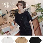 Queen Shop【01096218】單口袋剪接素面短T 三色售*現+預*