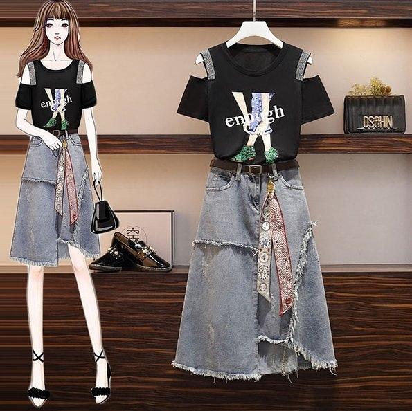 套裝兩件套上衣半身裙牛仔裙L-4XL中大尺碼鑲鑽印花T卹牛仔半身裙3F088.5121一號公館