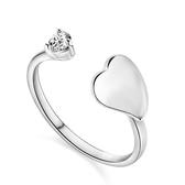 戒指 925純銀 鑲鑽-百搭心型生日母親節禮物女飾品73dx78【時尚巴黎】