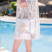 ✭慢思行✭【Z148】簡約網格純色手提包(中) 游泳包 乾濕分離 手提 洗漱 健身 旅行溫泉 收納包