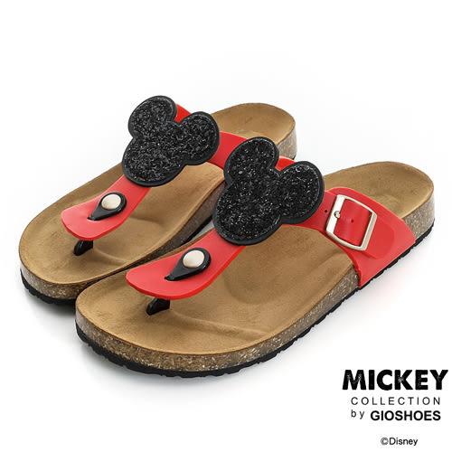 Disney 簡約舒適~米奇亮片休閒夾腳拖鞋-紅
