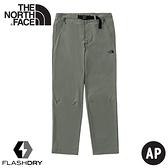 【The North Face 女 彈性快乾9分褲(附腰帶)《灰綠》】4978/吸濕排汗戶外徒步褲/休閒褲/九分褲