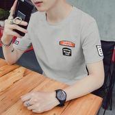 正韓男士新款短袖T恤韓版潮流5五分袖中袖體恤男裝半袖上衣服【快速出貨八折優惠】