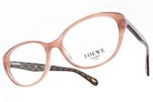 LOEWE 光學眼鏡 VLW827K 09Y3 (粉-紅棕) 質感拼色微貓眼款  # 金橘眼鏡