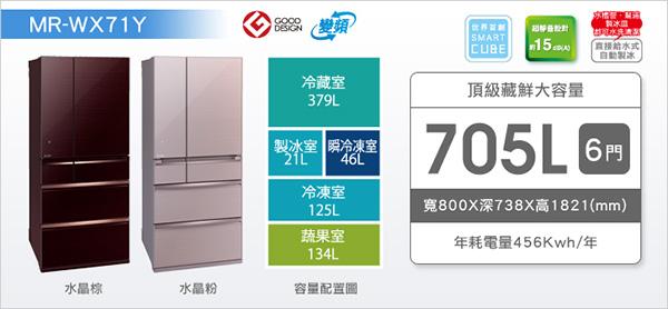 ★展示機出清★MITSUBISHI三菱 705L 六門變頻電冰箱 MR-WX71Y *免費基本安裝*