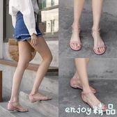 夏夏季 韓版粗跟一字扣帶平跟低跟女鞋