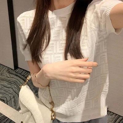 短版針織衫上衣白色短袖針織衫女百搭薄款套頭設計感慵懶上衣T恤1F064-A.胖丫