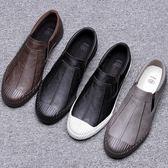 男鞋子 休閒鞋 秋冬低幫一腳蹬懶人鞋韓版百搭潮流休閒皮鞋板鞋《印象精品》q1876