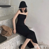 抹胸洋裝2020新款晚晚港味復古黑色修身顯瘦抹胸度假吊帶長裙連身裙女 愛丫愛丫