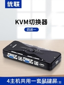 KVM切換器4口VGA4進1出電腦顯示器滑鼠鍵盤共用器鼠鍵屏共用 創時代3C館