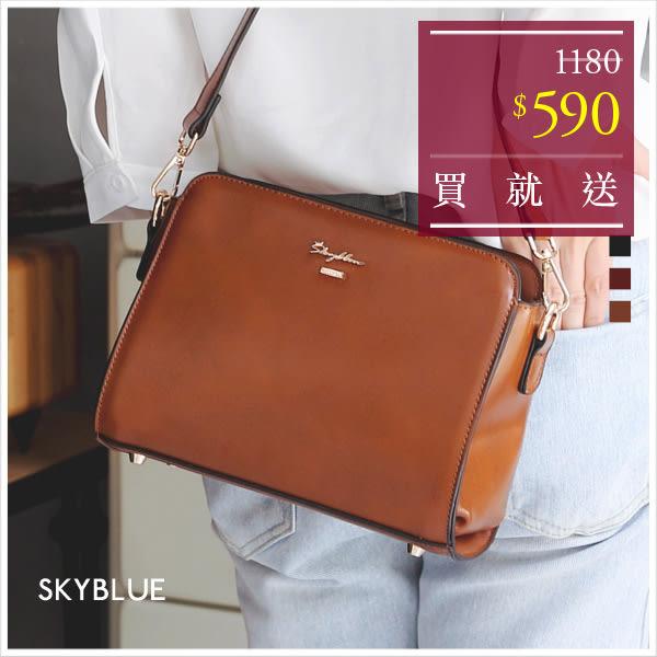 斜背包-韓版skyblue原創設計光澤質感方型拉鍊斜背包-共3色-A17171485-天藍小舖