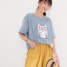 【慢。生活】眼鏡貓咪繡布休閒T恤 1560  FREE 淺藍色
