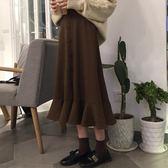 半身裙 - 簡約百搭中長款顯瘦裝飾扣A字裙荷葉邊半身裙潮【韓衣舍】